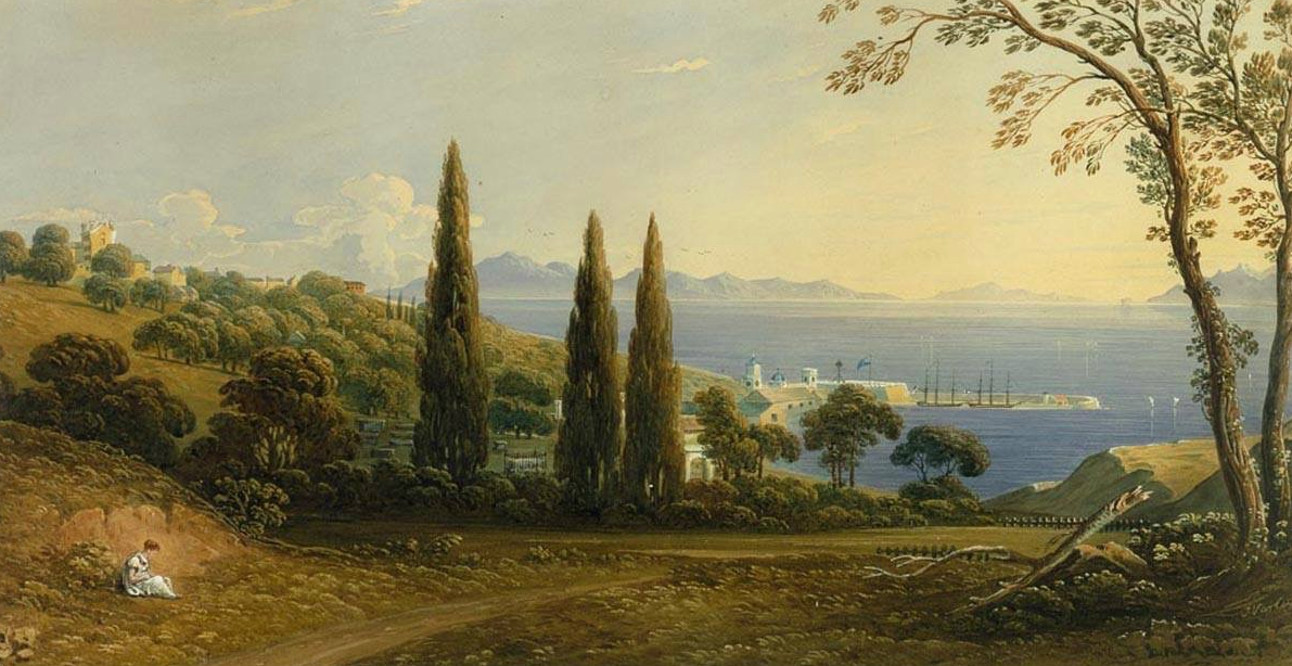 Early 19th Century painting, over looking Sandpits and the Cemetery