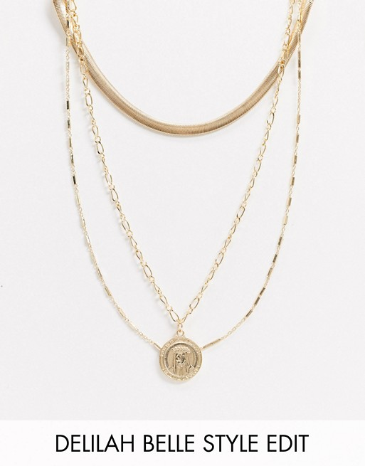 Multirow necklace with coin pendant in gold tone, ASOS DESIGN, £8.00