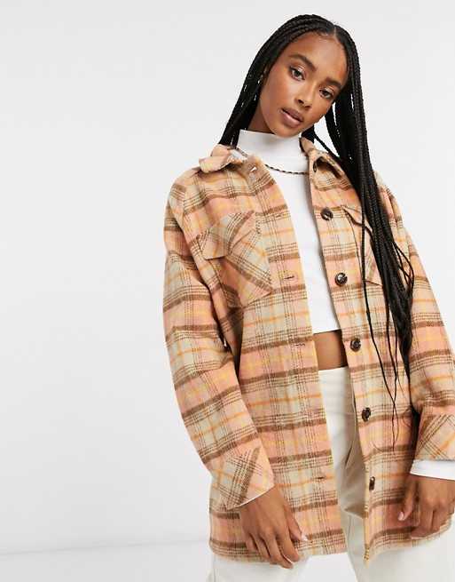 Longline shacket in orange check, Only, £50.00