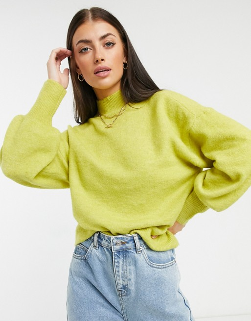 Jumper with balloon sleeves in lime, Vero Moda, £34.00
