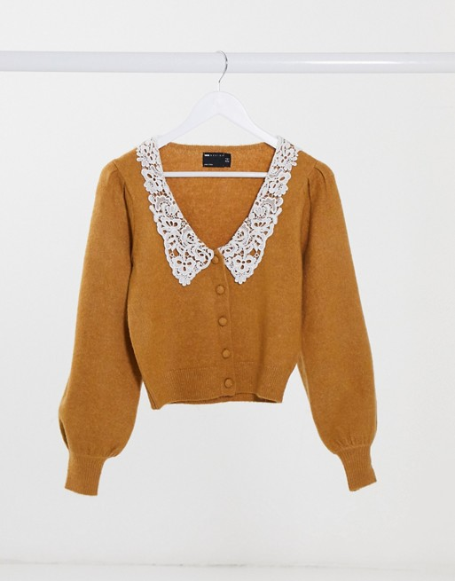 Cardigan with lace collar detail in camel, ASOS DESIGN, £28.00