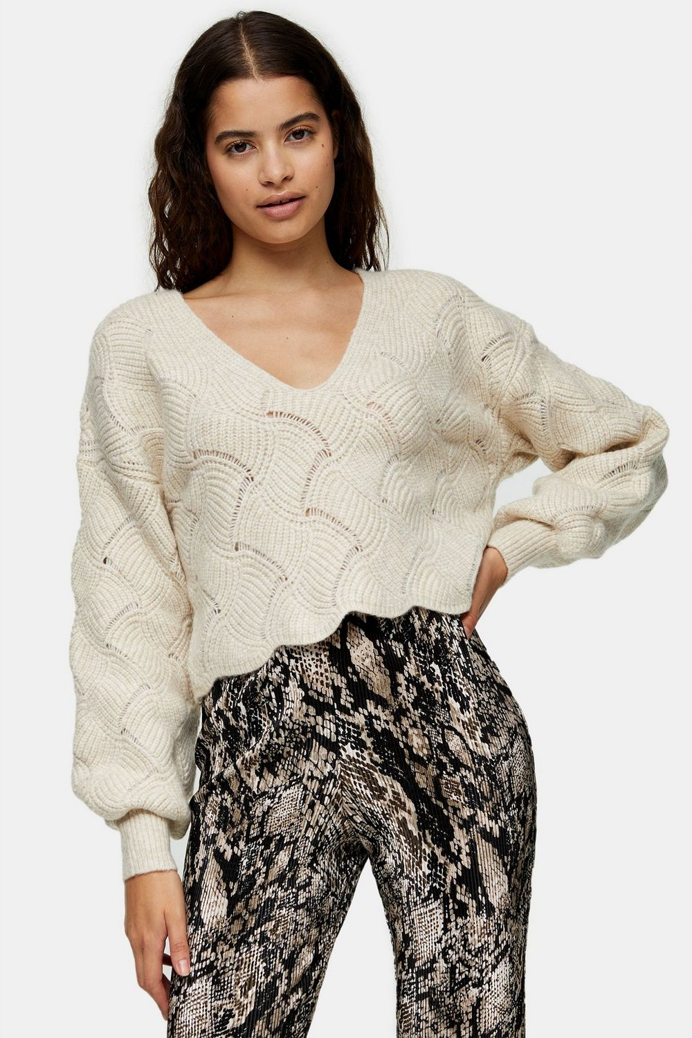 Cropped Stitch Knitted Jumper, Topshop, £29.99