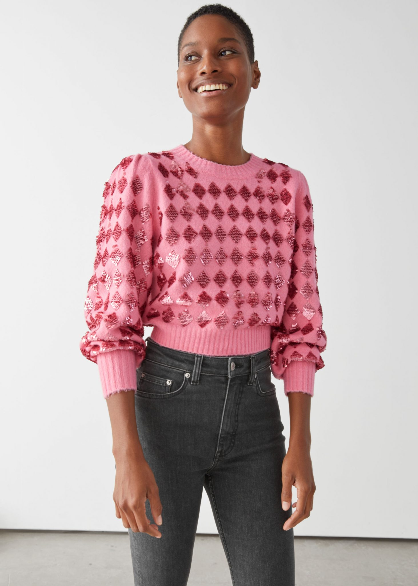 Sparkling Harlequin Puff Sleeve Sweater, & Other Stories, £75.00