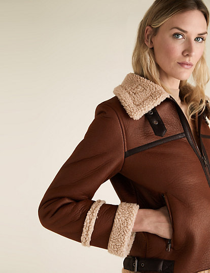 Faux Shearling Borg Lined Aviator Jacket, M&S, £69.00