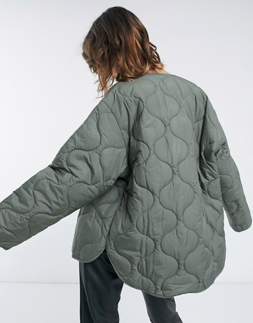 Quilted puffer jacket in khaki, Mango, £59.99