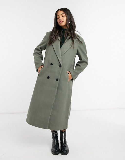 Strong shoulder maxi coat in sage, ASOS DESIGN, £65.00