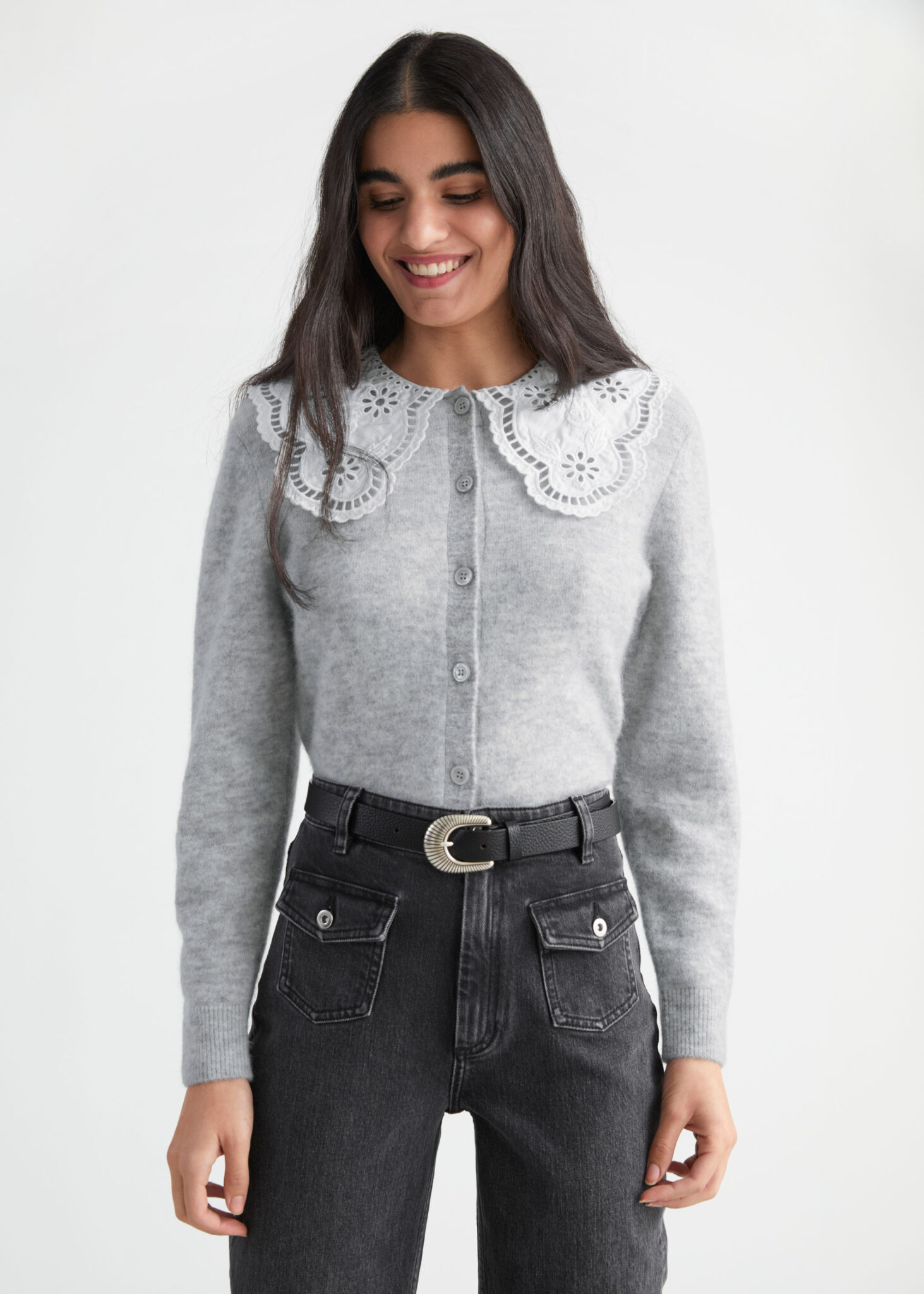 Embroidered Statement Collar Knit Cardigan, & Other Stories, £95.00