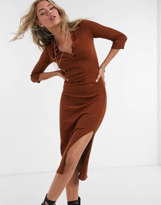 Knitted-dress-with-collar-detail-in-brown_-ASOS-DESIGN_-£30.00