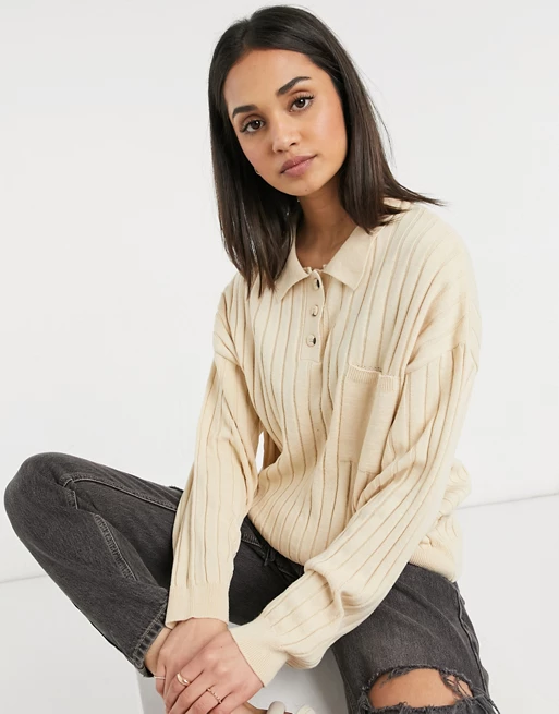 Oversized rugby style jumper with collar detail and pocket in beige, ASOS DESIGN, £30.00
