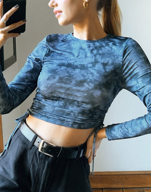 Fitted top with ruched sides in tie dye, ASOS DESIGN, £14.00