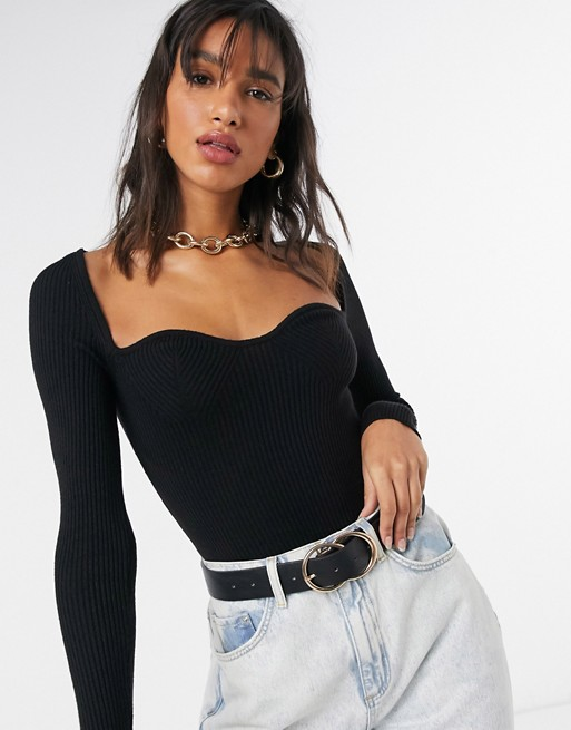 Jumper with sweetheart neckline in black, ASOS DESIGN, £28.00