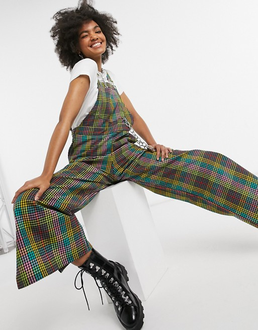 Relaxed dungarees with chain in bright rainbow check, The Ragged Priest, £65.00