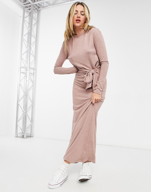 Super soft tie waist dress with long sleeves in dusky rose, ASOS DESIGN, £35.00