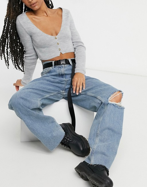 x014 extreme dad jeans in vintage blue wash, COLLUSION, £25.00