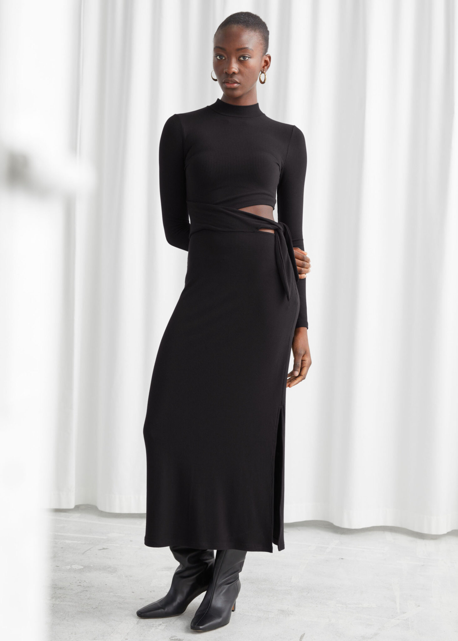 Mock Neck Cut Out Midi Dress, & Other Stories, £65.00