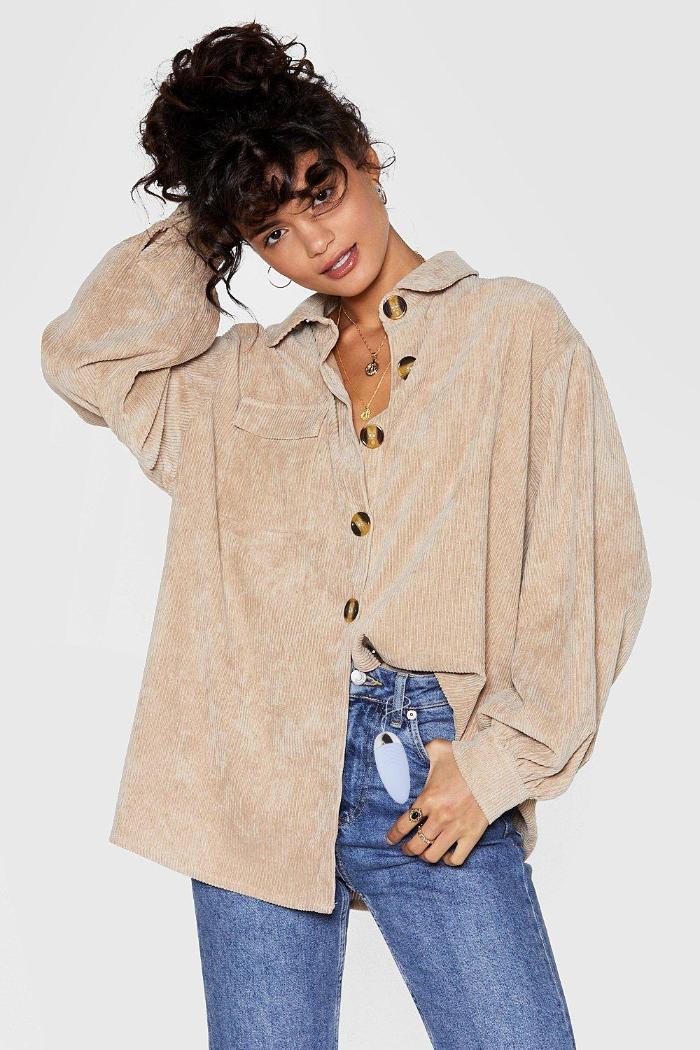 Button Down Oversized Corduroy Shirt, Nasty Gal, £38.00