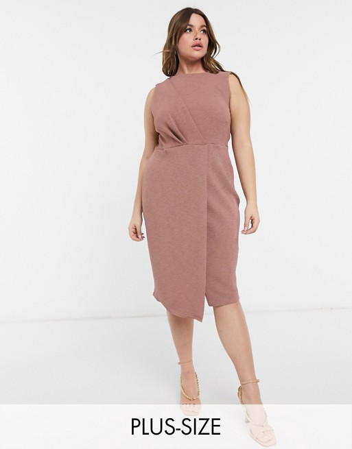 Plus wrap detail pencil dress in deep winter rose, Closet London, £55.00