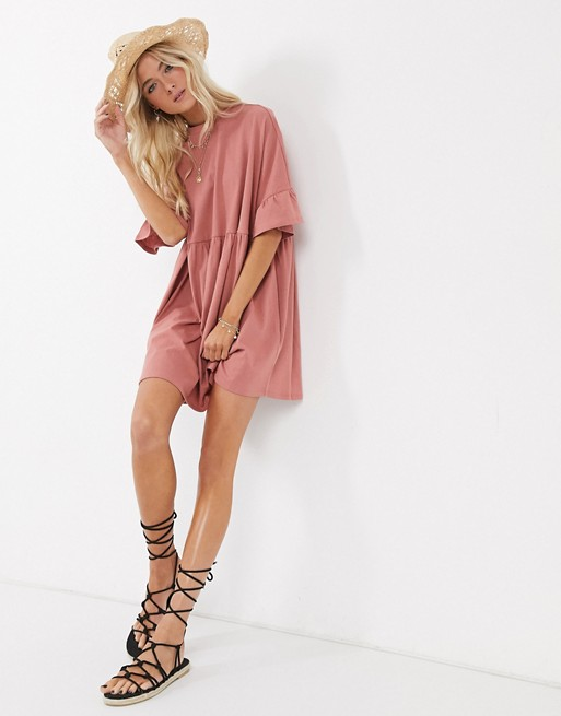 Super oversized frill sleeve smock dress in rose, ASOS DESIGN, £18.00