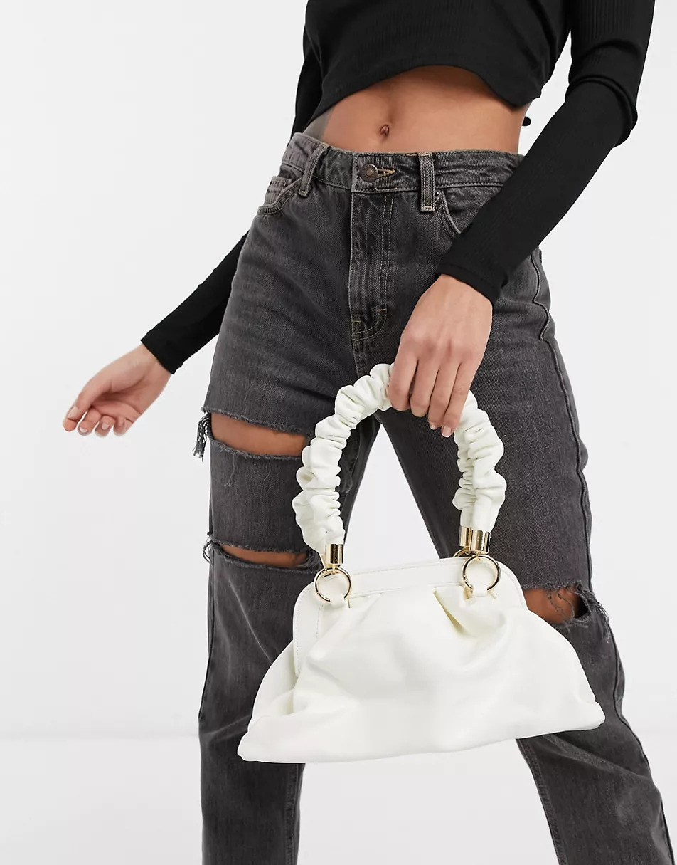 Handheld-mini-bag-with-ruched-handle-in-white_-Ego-x-Molly-Mae_-£22.49