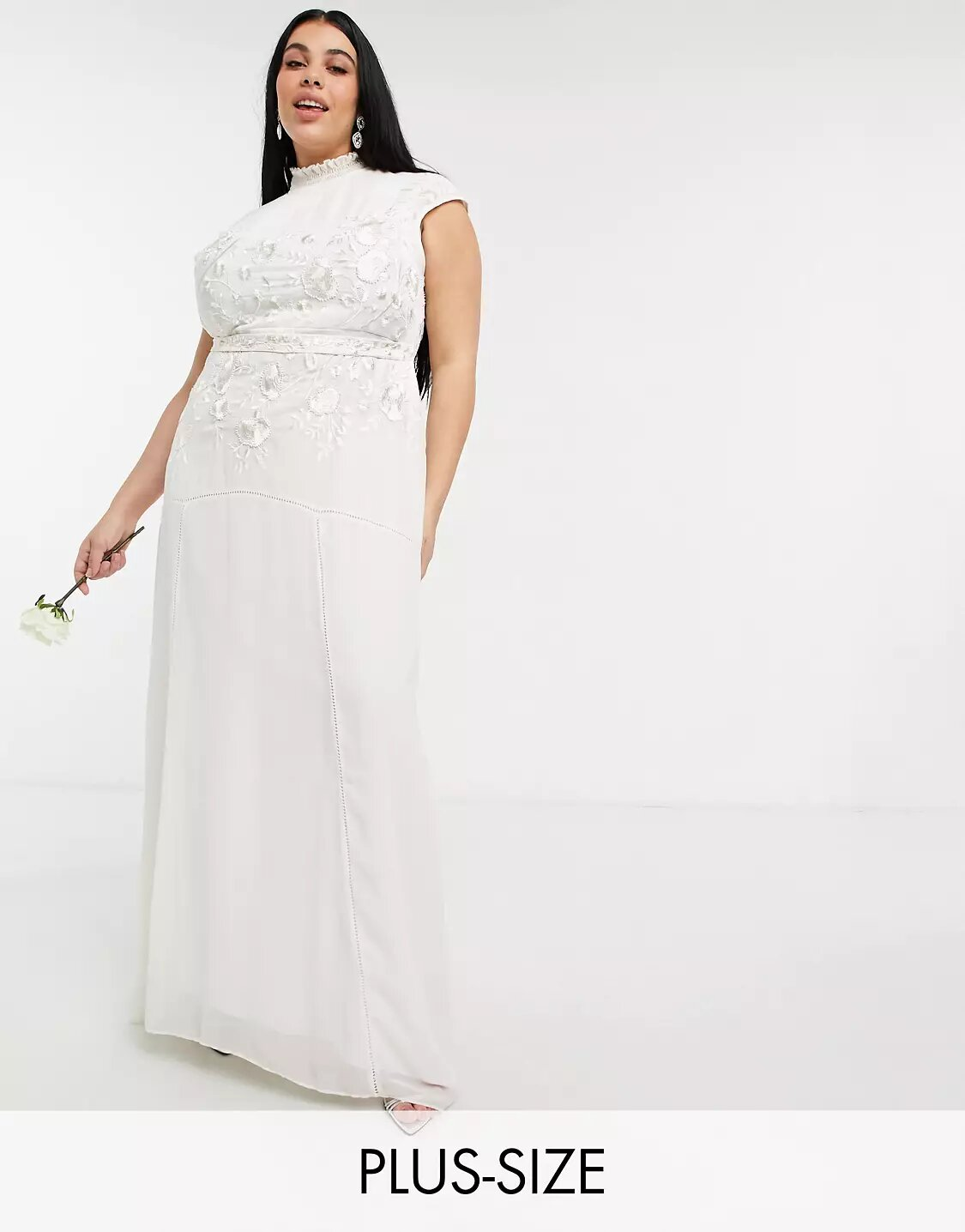 Plus Bridal floral beaded and embroidered maxi dress with keyhole back in ivory, Hope & Ivy, £150.00