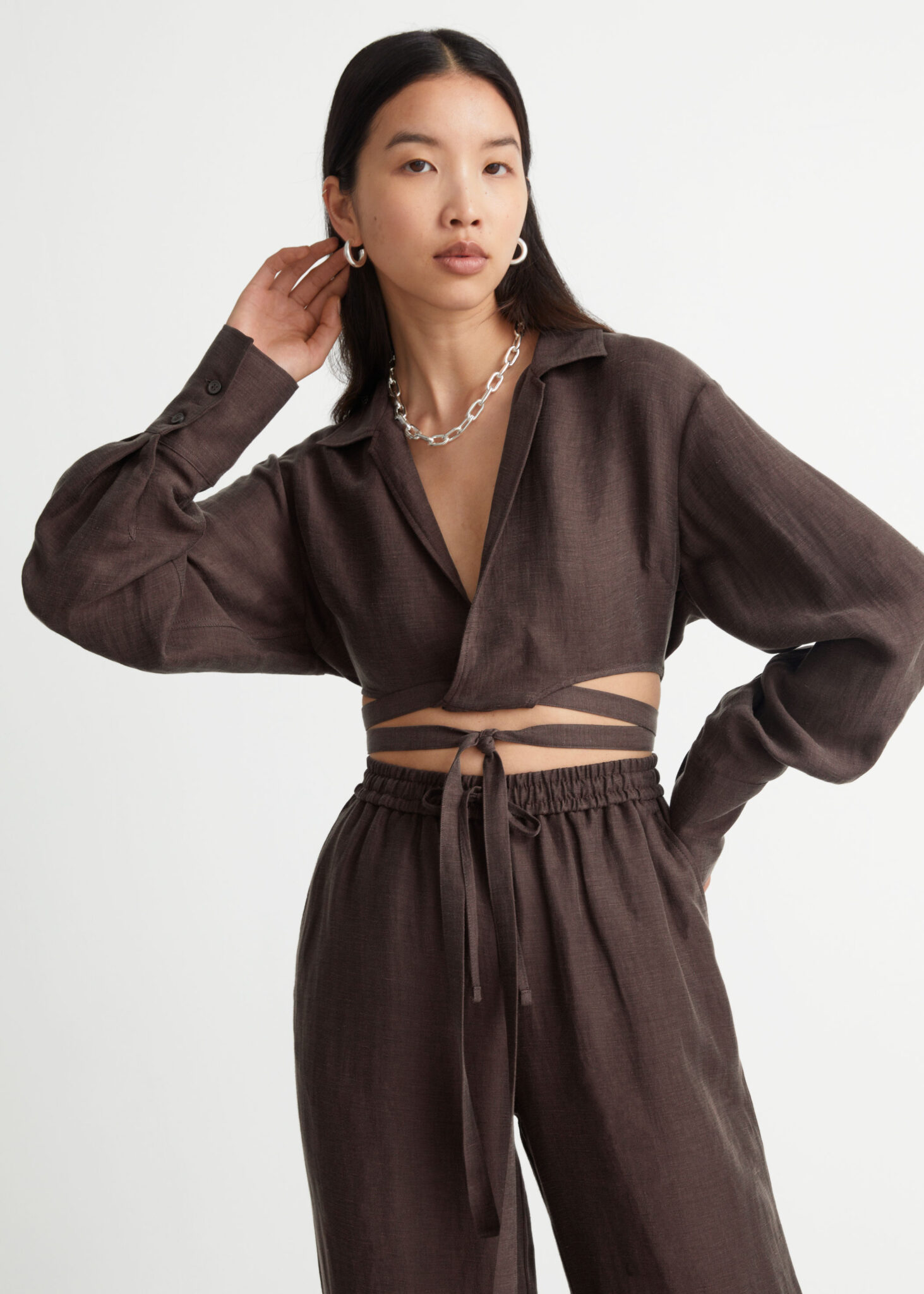 Cropped Criss Cross Tie Blouse, & Other Stories, £65.00