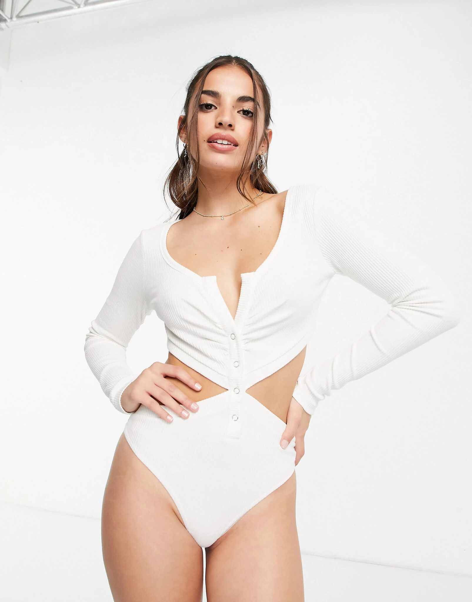 Long sleeve cut out button front body with ruching, Skylar Rose, £28.00