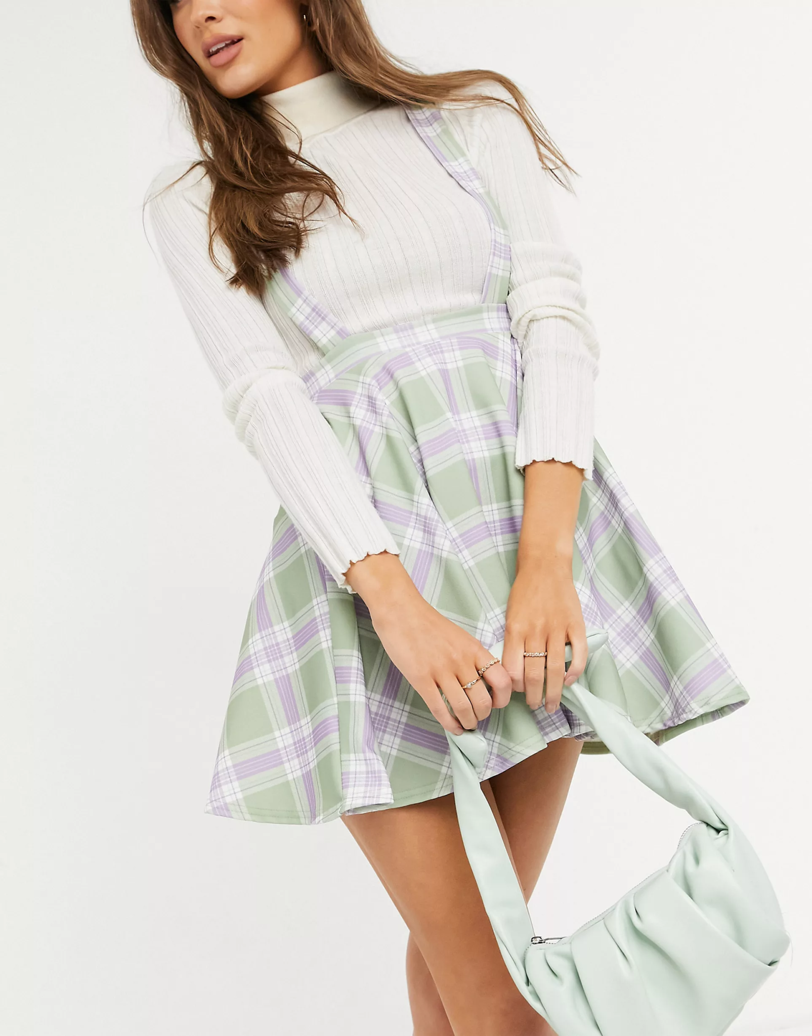 Pinafore with flippy skirt in lilac check print, ASOS DESIGN, £20.00