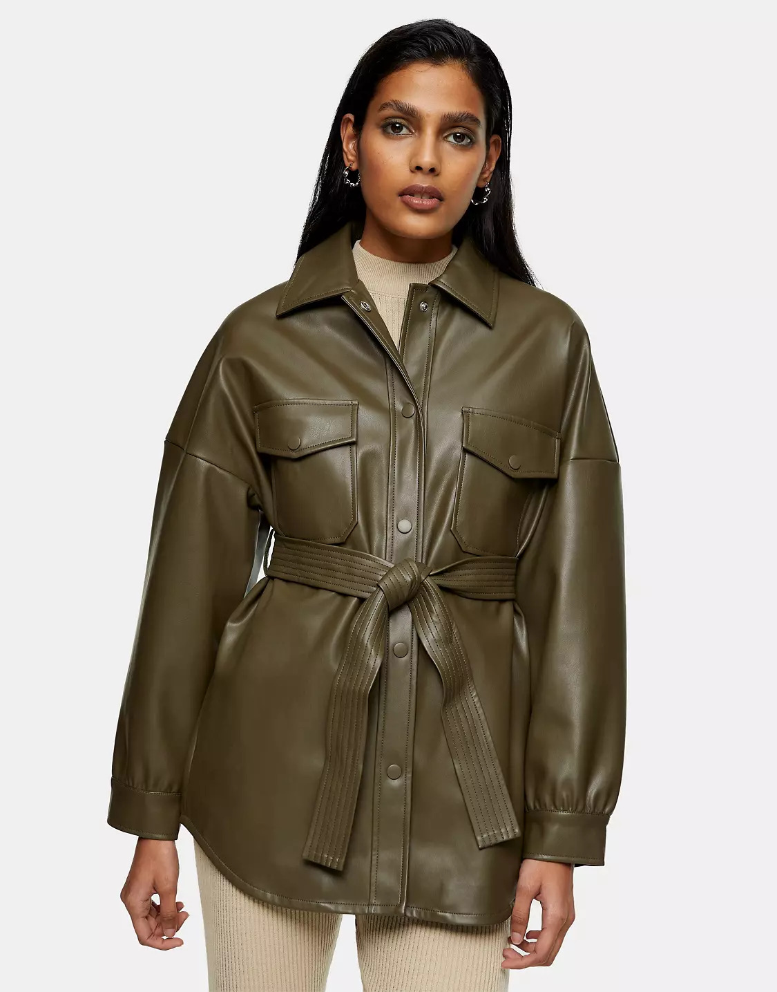 Faux leather belted jacket in khaki, Topshop, £49.99
